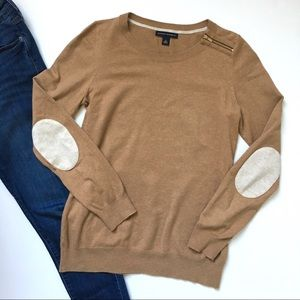 Banana Republic Preppy Brown Elbow Patch Sweater